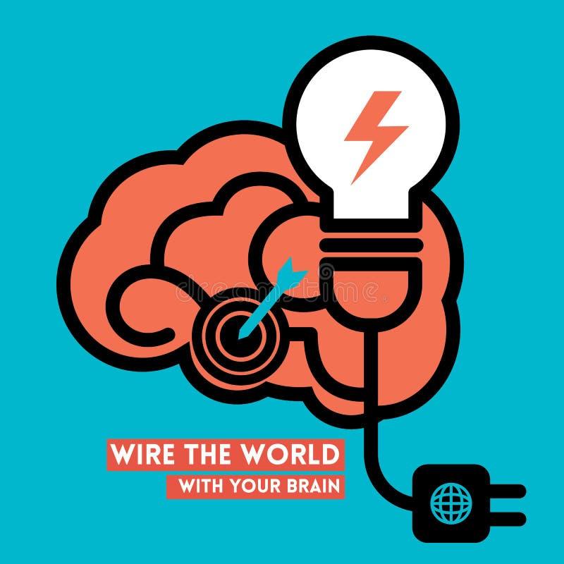 Idérika Brain Light Bulb Concept Illustration royaltyfri illustrationer