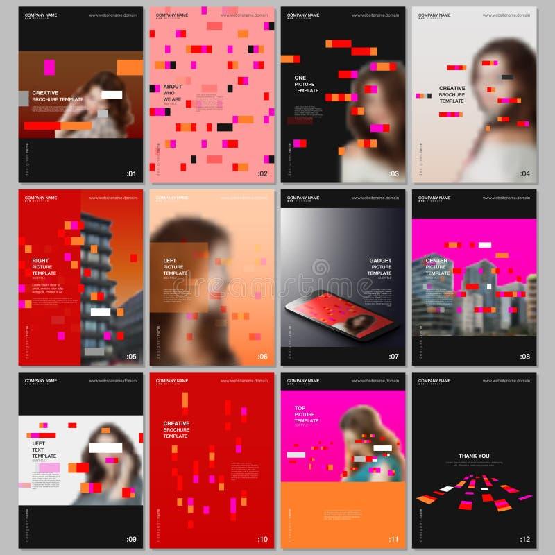 Idérika broschyrmallar med färgrika beståndsdelar, rektanglar, lutningbakgrunder Räkningar planlägger mallar för reklamblad vektor illustrationer