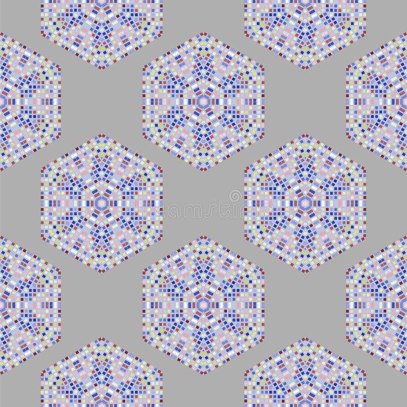 Idérika dekorativa mosaiska sömlösa Grey Pattern royaltyfri illustrationer