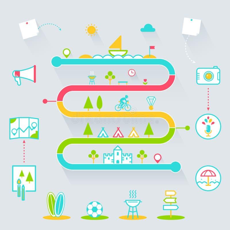 Idérika för Infographics för utomhus- aktiviteter för sommar beståndsdelar symboler stock illustrationer