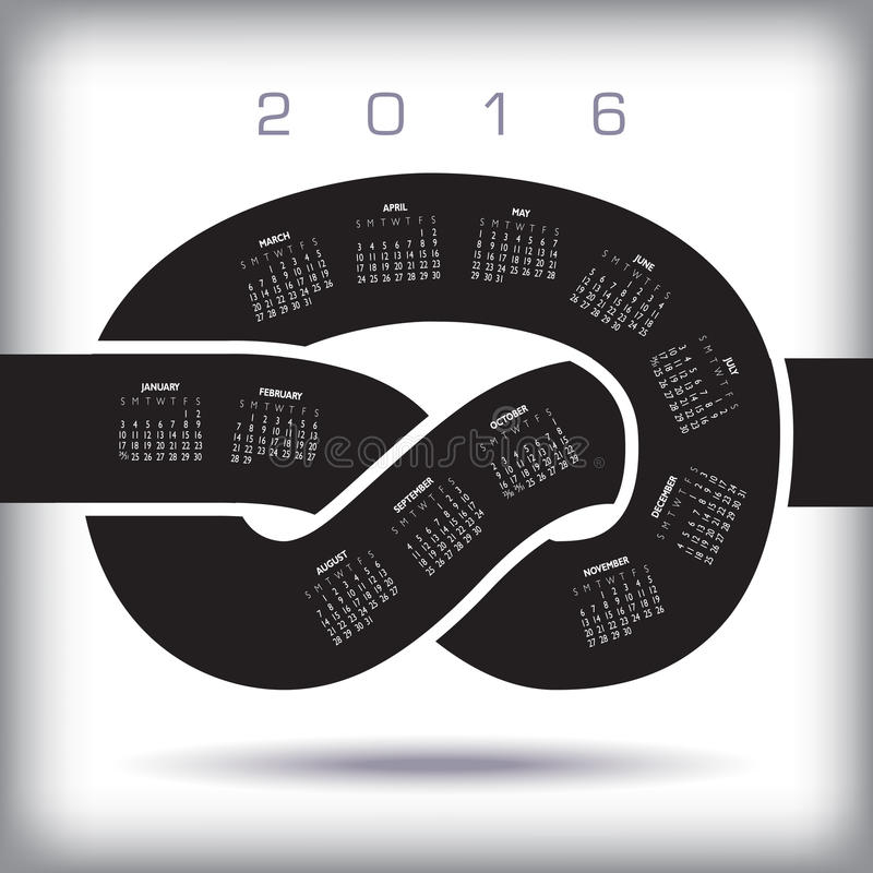 2016 idérika fnurenkalender stock illustrationer