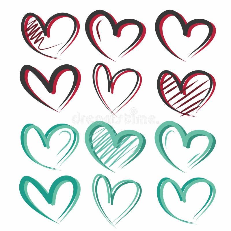 Idérika, gulliga och ljusa hjärtor för original, av olika färger royaltyfri illustrationer