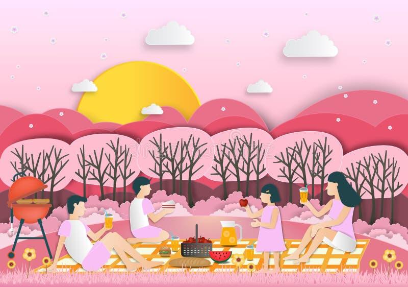 Idérika idéer av familjen på picknick parkerar offentligt Utomhus- recrea vektor illustrationer