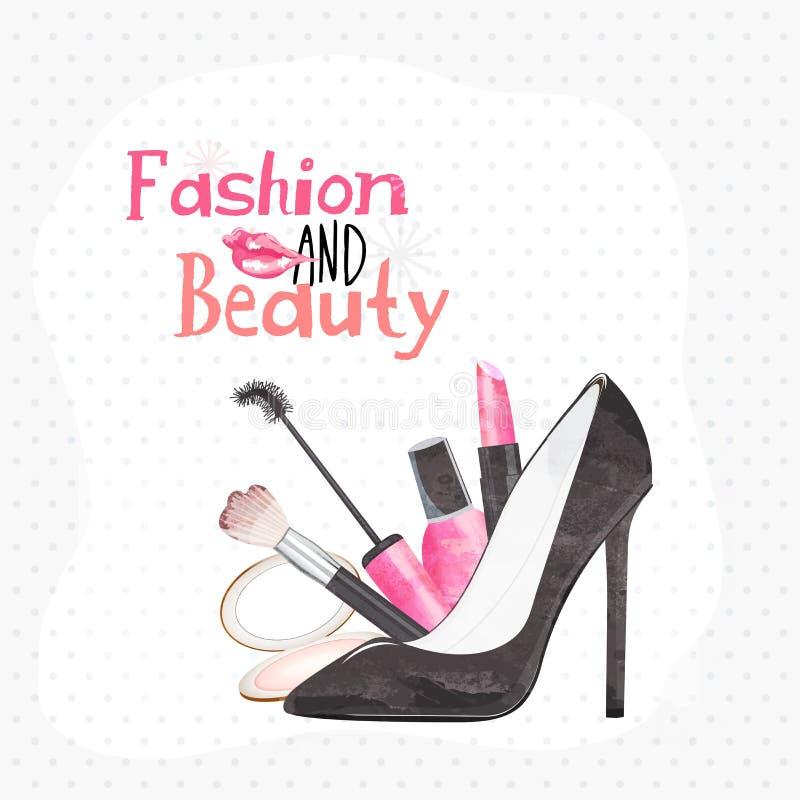 Idérika kvinnors skönhetsmedel och sandal vektor illustrationer