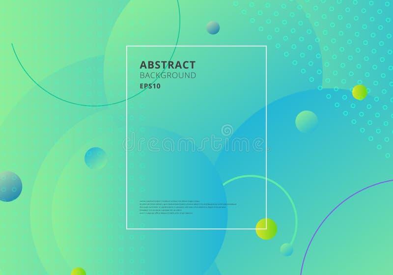 Idérika moderiktiga abstrakta minsta geometriska cirklar formar med grön och blå lutningbakgrund Dynamisk formsammansättning och royaltyfri illustrationer