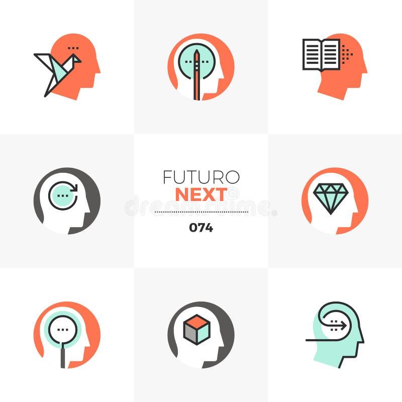 Idérika nästa symboler för tänka Futuro vektor illustrationer