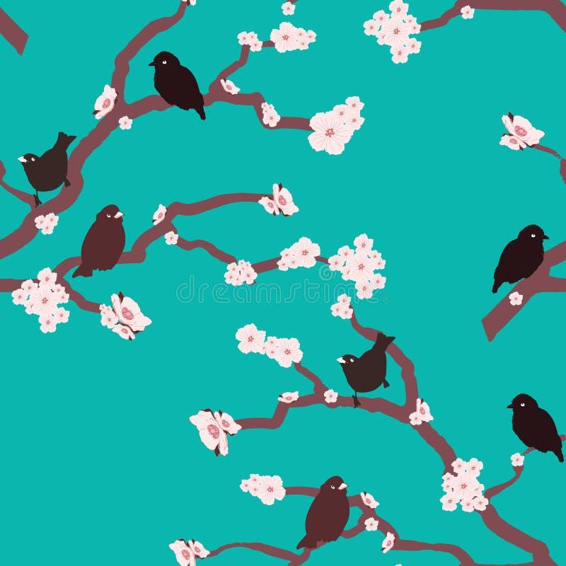 Idérika och färgrika naturfåglar och vektor för modell för blommablomning sömlös stock illustrationer