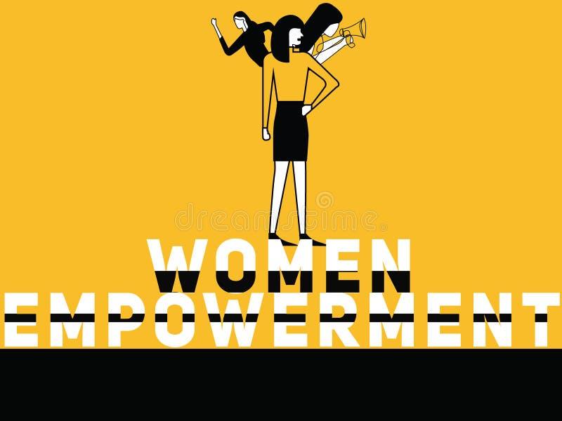 Idérika ordbegreppskvinnor bemyndigande och kvinnor som gör saker royaltyfri illustrationer