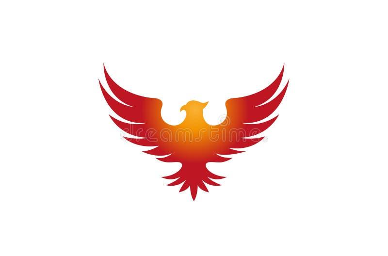 Idérika Pheonix Logo Design Vector Symbol Illustration arkivbild