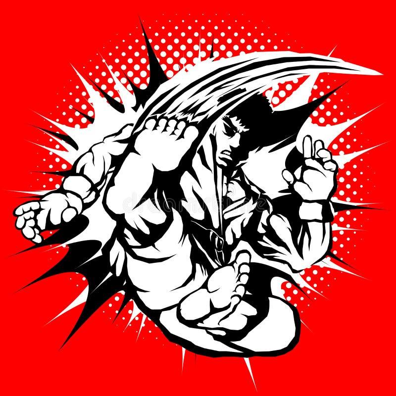 Idérika populära kampsporter, karate, Taekwondo etc. grymt manligt kämpetecken som visas toppen höjdhoppsparkrörelse med brand e vektor illustrationer
