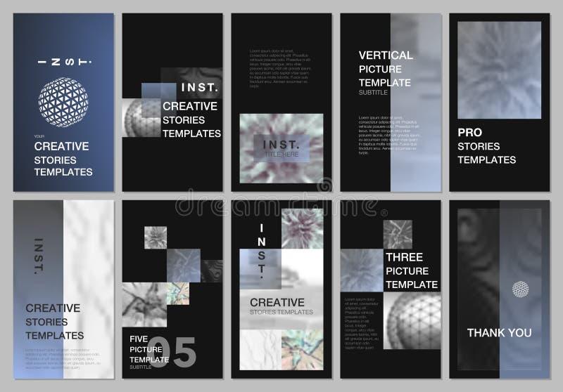 Idérika sociala nätverksberättelser planlägger, det vertikala banret eller reklambladmallar med färgrika lutningbakgrunder räknin royaltyfri illustrationer