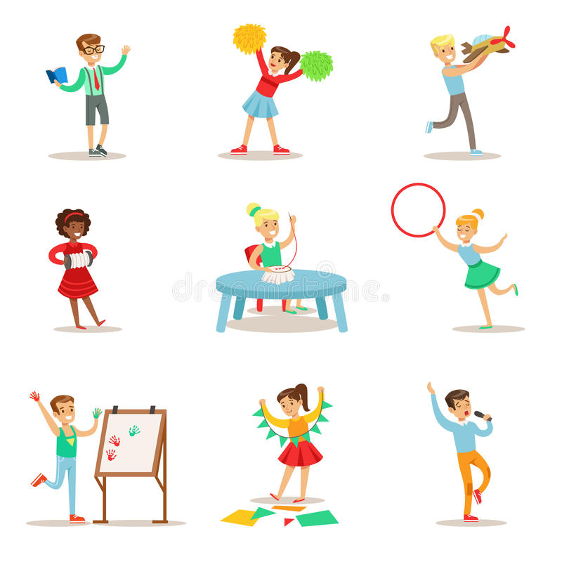 Idérika ungar som öva olika konsthantverk i den Art Class And By Themselves uppsättningen av Themed barn och kreativitet royaltyfri illustrationer