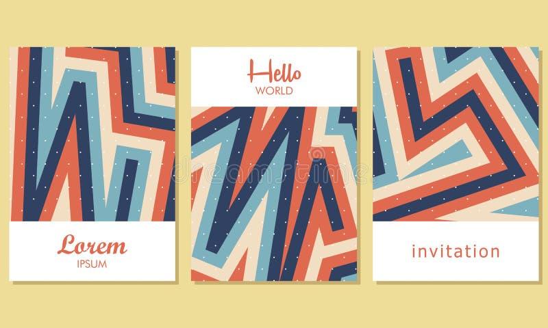 Idérika universella kort med abstrakt bakgrund - vektor stock illustrationer