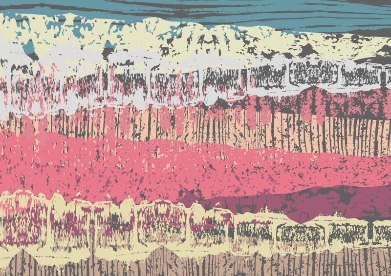 Idérikt abstrakt begrepp texturerad bakgrund Färgrik kludd retro design konst stock illustrationer