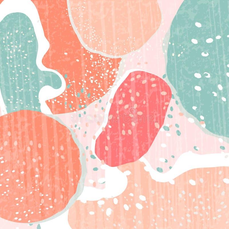 Idérikt abstrakt begrepp texturerade bakgrund med många färgfläckar Olikt formar stock illustrationer
