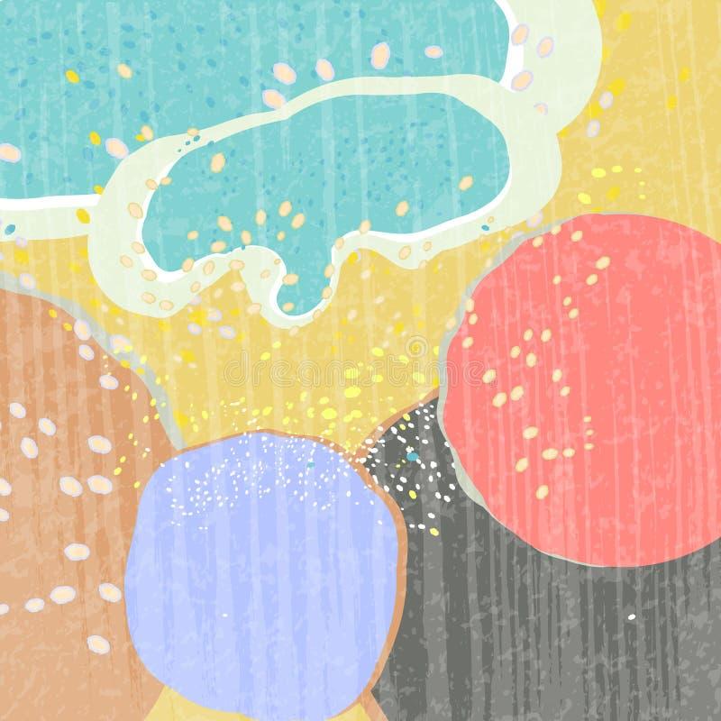 Idérikt abstrakt begrepp texturerade bakgrund med många färgfläckar Olikt formar Trendstil Färgrik kludd royaltyfri illustrationer