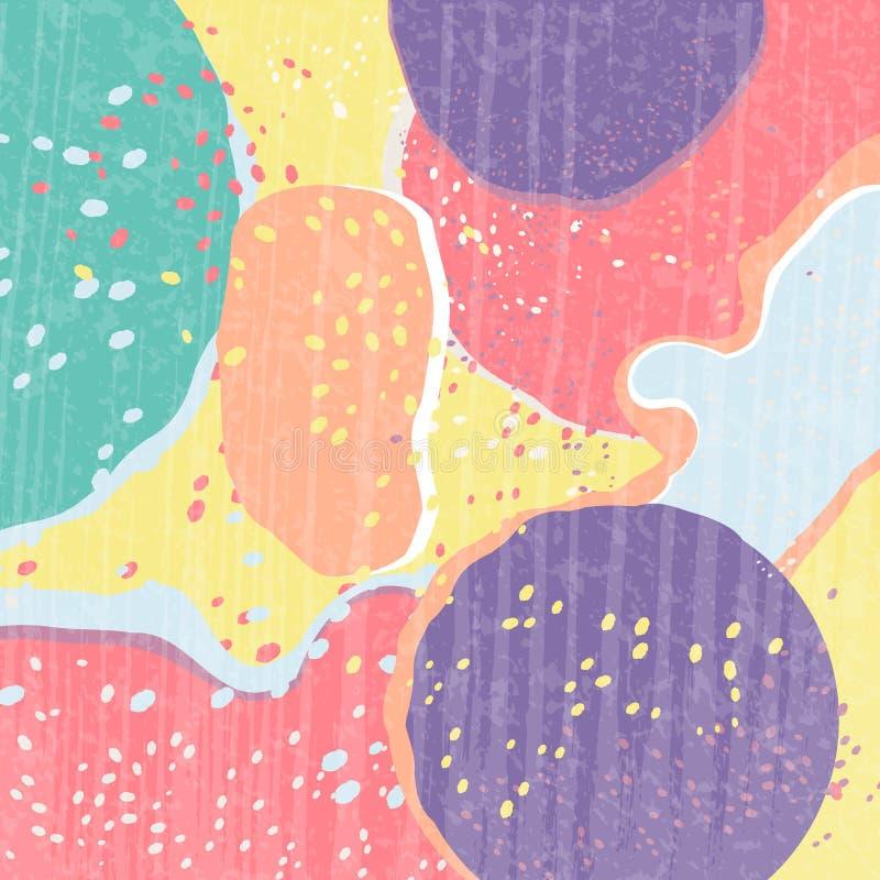 Idérikt abstrakt begrepp texturerade bakgrund med många färgfläckar Olikt formar Trendstil Färgrik kludd stock illustrationer