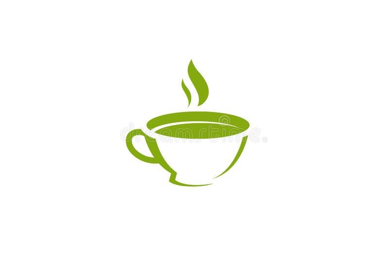 Idérikt abstrakt blad Logo Design Vector Symbol Illustration för tekopp stock illustrationer