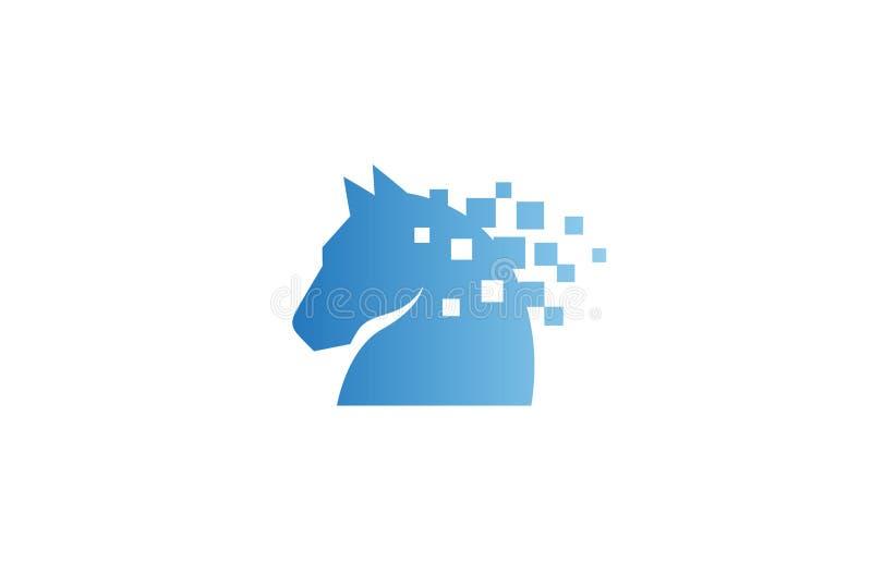Idérikt abstrakt PIXEL Logo Design Vector Symbol Illustration för hästhuvud vektor illustrationer