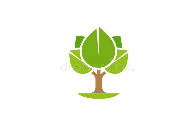 Idérikt abstrakt träd Logo Design Vector Symbol Illustration stock illustrationer