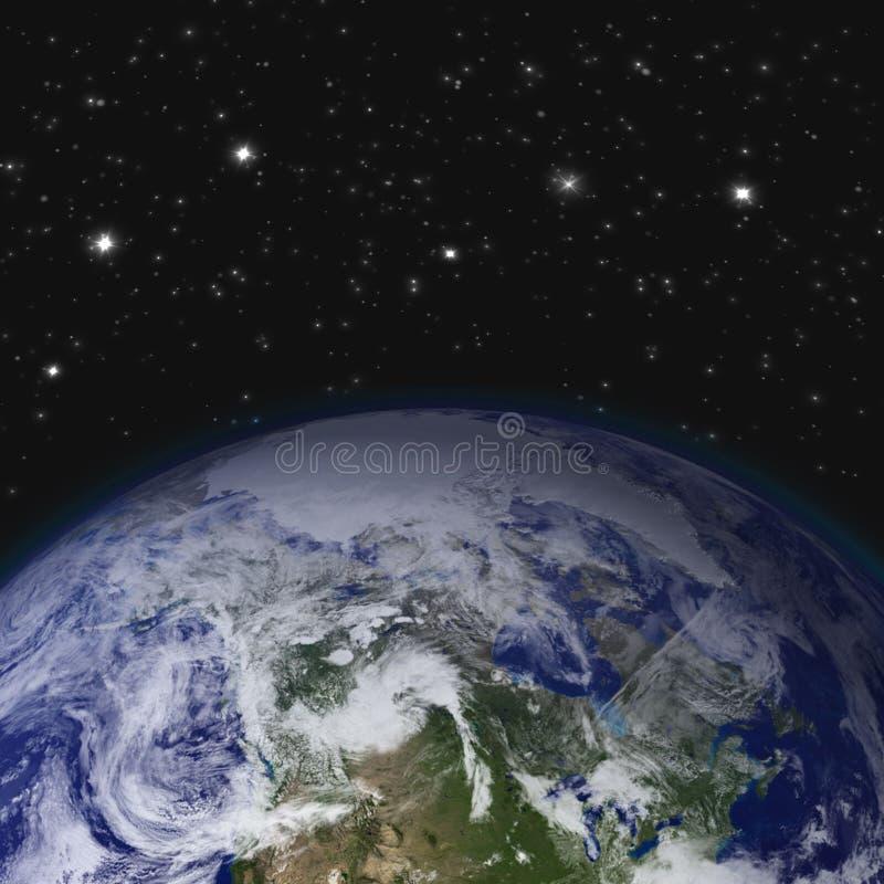 Idérikt abstrakt vetenskapligt begrepp för global kommunikation: göra mellanslag sikten av jordplanetjordklotet med världskartan  royaltyfri foto