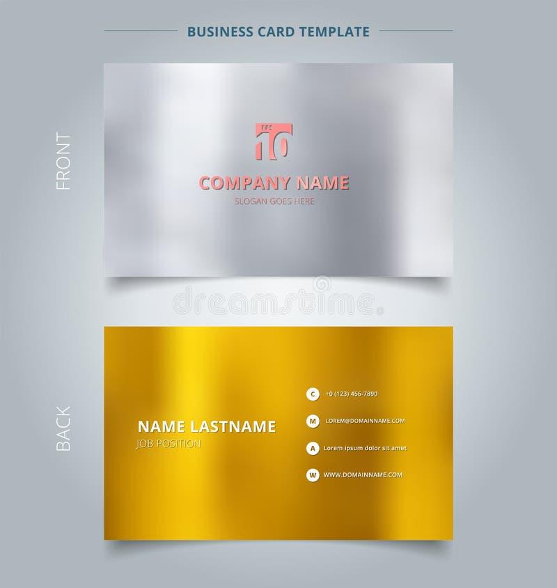 Idérikt affärskort och mall för känt kort, silver och guld c royaltyfri illustrationer