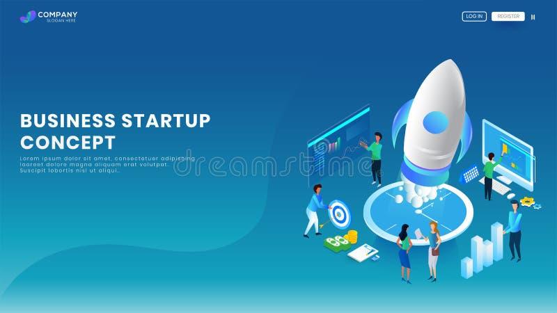 Idérikt baner för affärsstart eller landa sidadesign med illustrationen av affärsfolk som arbetar på ett projekt på blått stock illustrationer