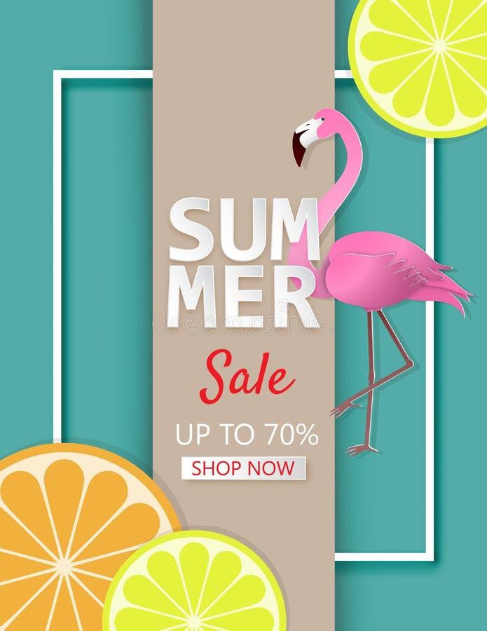 Idérikt baner för illustrationsommarförsäljning med den citron-, apelsin- och flamingofågeln i pappers- klippt stil vektor illustrationer