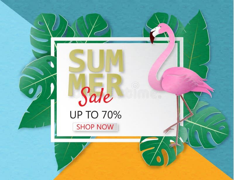 Idérikt baner för illustrationsommarförsäljning med flamingo och tropisk sidabakgrund stock illustrationer