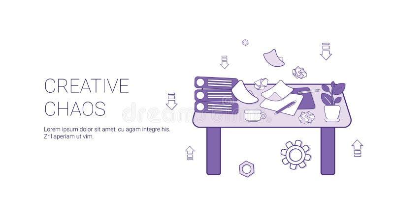 Idérikt baner för rengöringsduk för mall för begrepp för kaoskreativitetprocess med kopieringsutrymme stock illustrationer