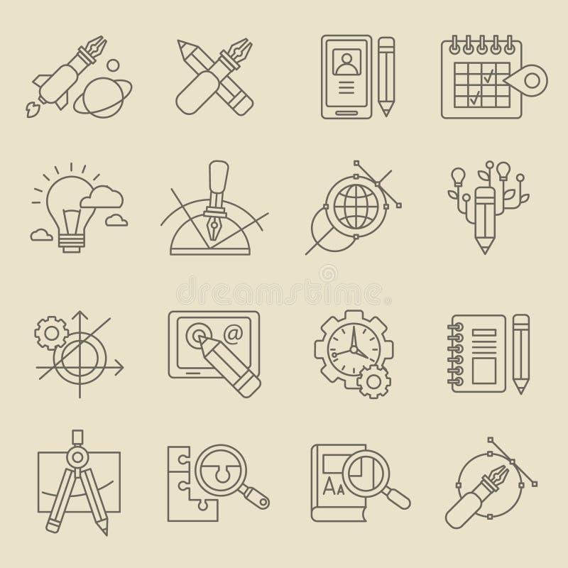 Idérikt begrepp för designprocess stock illustrationer