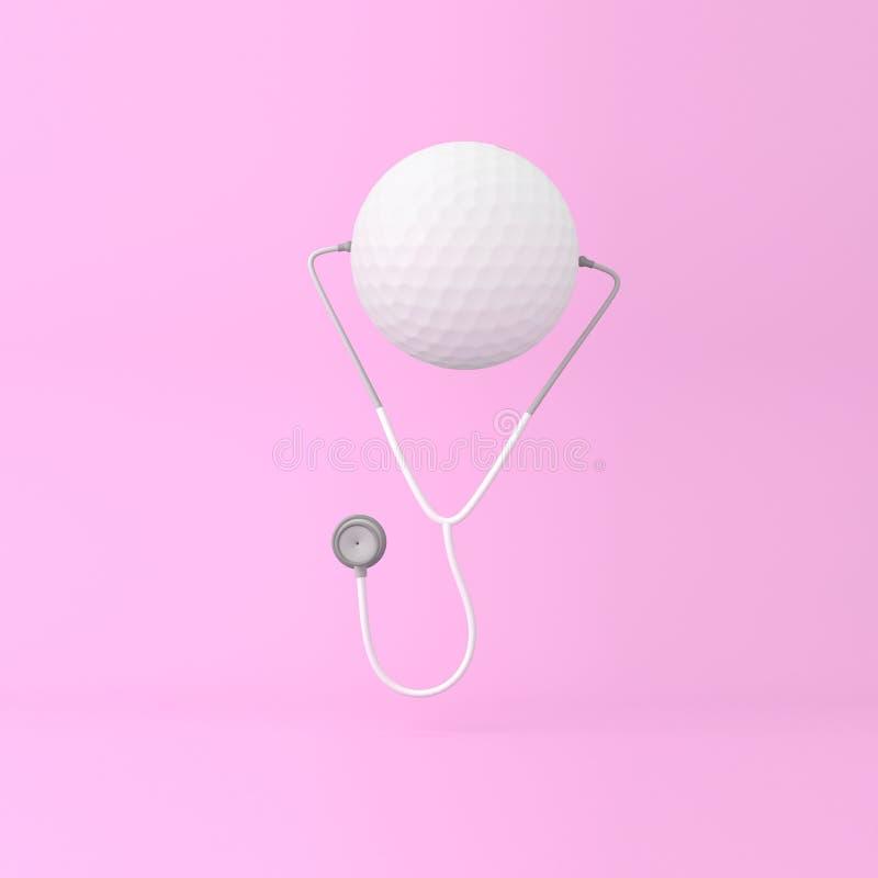Idérikt begrepp för idéorienteringsgolf med stetoskopet på rosa färgdeg royaltyfri fotografi