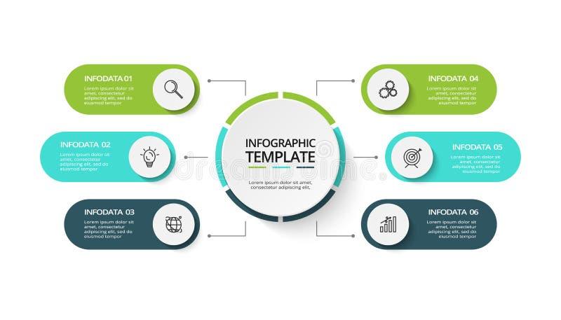 Idérikt begrepp för infographic med 6 moment, alternativ, delar eller processar Visualization f?r aff?rsdata royaltyfri illustrationer
