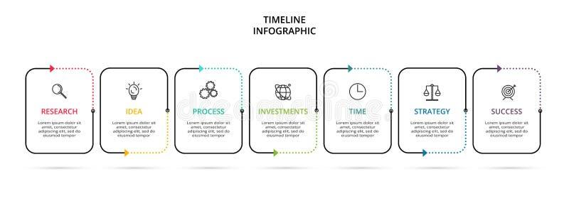 Idérikt begrepp för infographic med 7 moment, alternativ, delar eller processar Visualization f?r aff?rsdata royaltyfri illustrationer