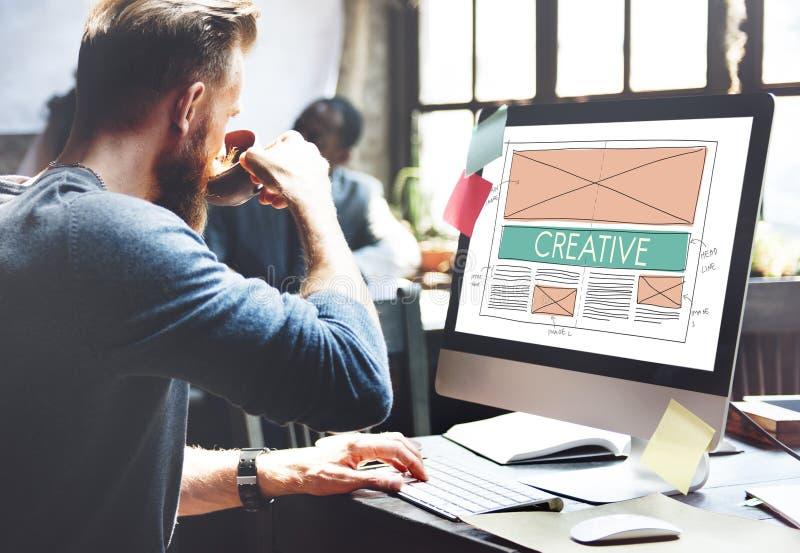 Idérikt begrepp för orientering för kreativitetrengöringsdukdesign fotografering för bildbyråer