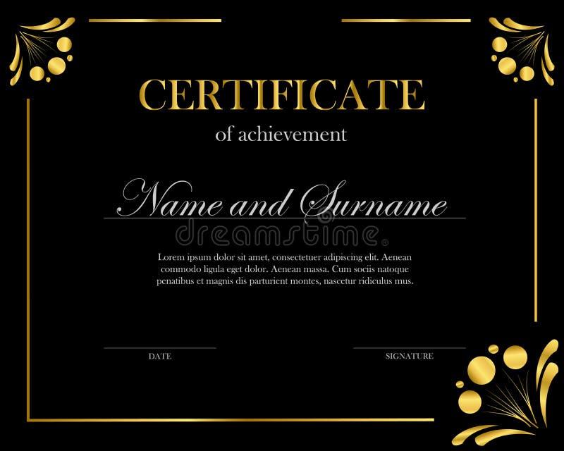 Idérikt certifikat, diplom Ram för diplomet, certifikat Certifikatmall med den eleganta gränsramen royaltyfri illustrationer