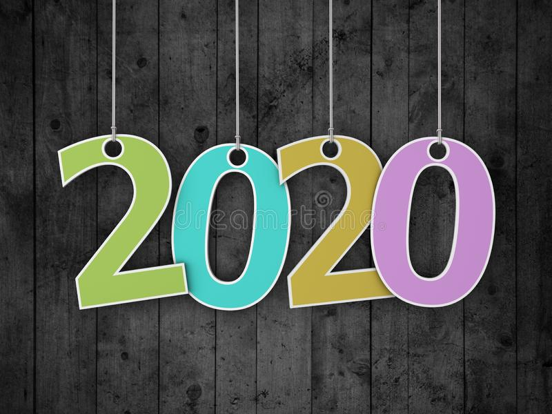 Idérikt designbegrepp för nytt år 2020 royaltyfri bild