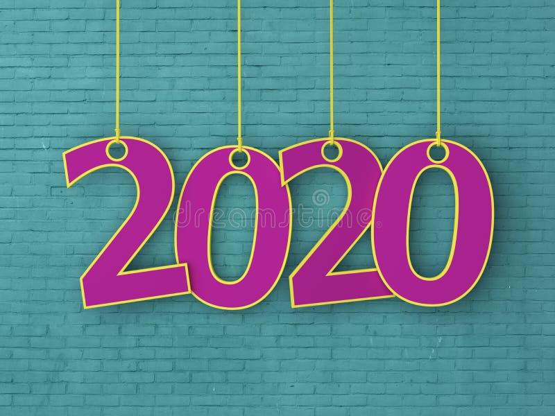 Idérikt designbegrepp för nytt år 2020 fotografering för bildbyråer