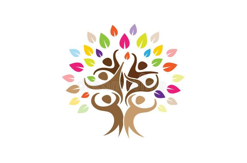 Idérikt färgrikt folk Team Tree Logo royaltyfri illustrationer