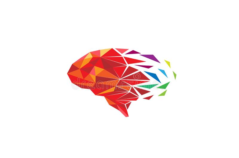 Idérikt färgrikt PIXEL Polygonal Brain Logo Vector Illustration stock illustrationer
