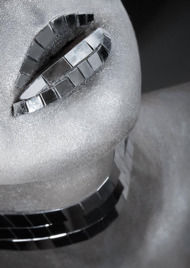 Idérikt försilvra makeup med avspeglar splittrar arkivfoton