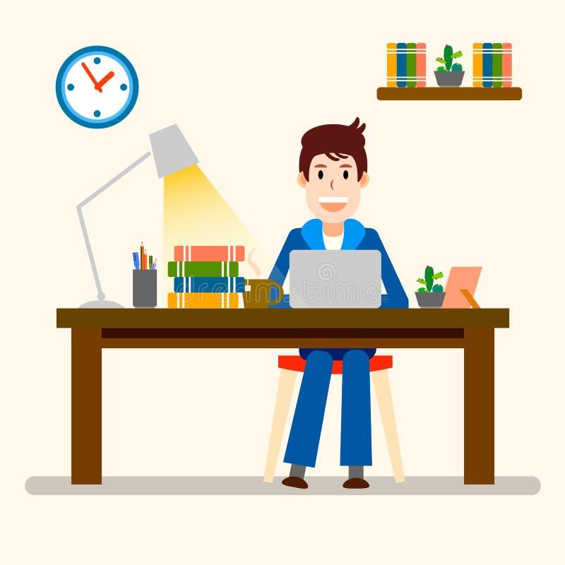 Idérikt folk freelancer lycklig manworking Vektorillustrat stock illustrationer