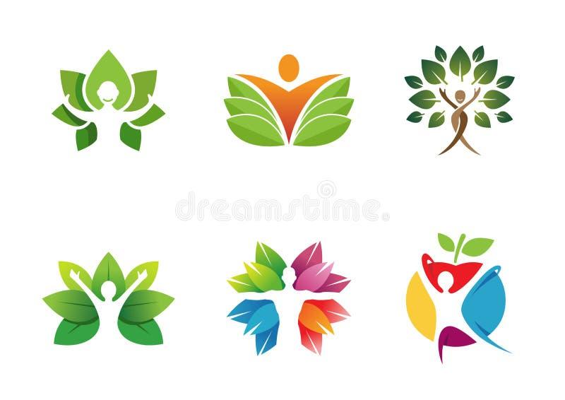 Idérikt folkträd Logo Design Illustration vektor illustrationer