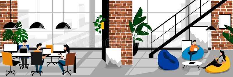 Idérikt freelancersfolk i coworking kontor Plan tecknad filmillustration f?r vektor Arbeteutrymme med vindinre vektor illustrationer
