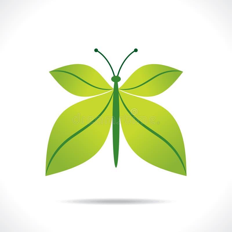 Idérikt grönt begrepp för bladfjärilsdesign stock illustrationer