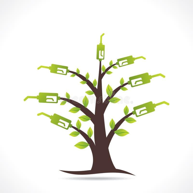 Idérikt grönt begrepp för bränsleträddesign royaltyfri illustrationer