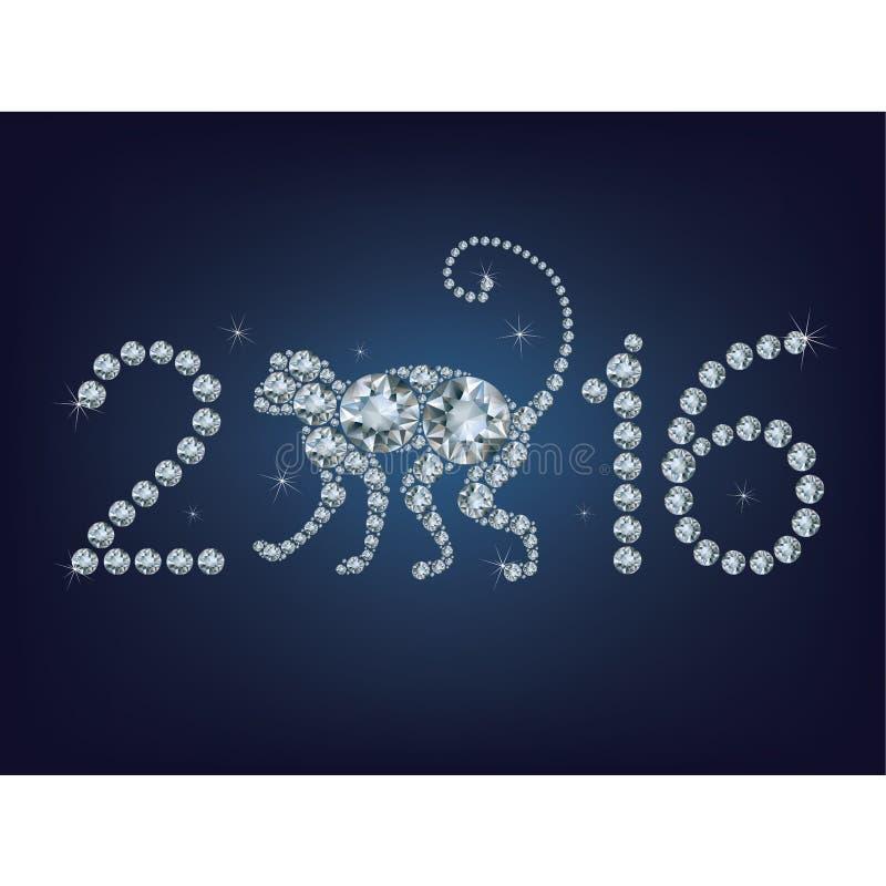 Idérikt hälsningkort för lyckligt nytt år 2016 med apan stock illustrationer