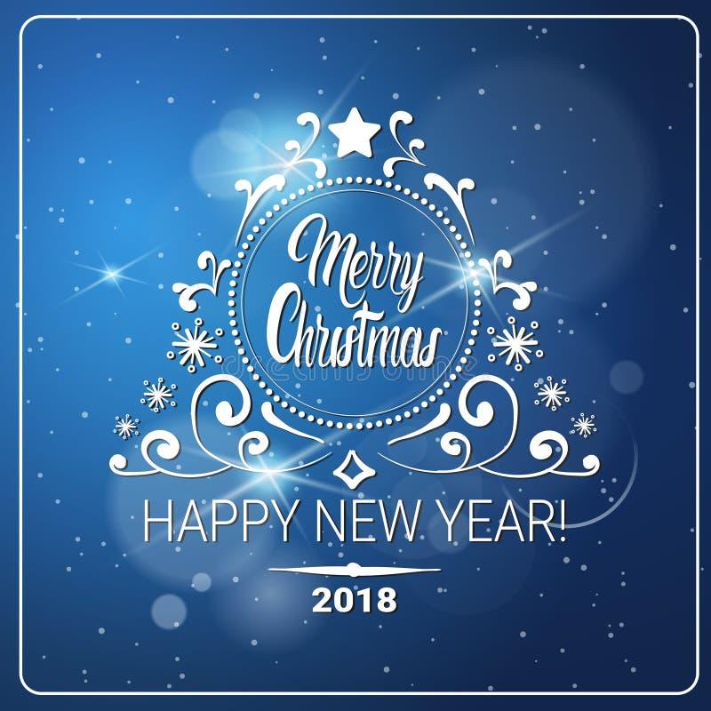 Idérikt hälsningkort på glad jul för suddig bakgrund och begreppet 2018 för lyckligt nytt år royaltyfri illustrationer