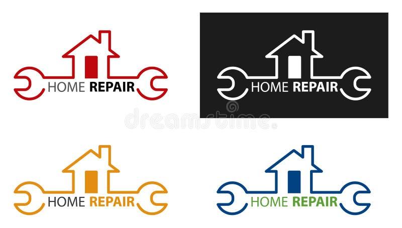 Idérikt hem- konstruktionsbegrepp Logo Design Template Hem- reparationslogotyp Husunderh?llsbegrepp vektor illustrationer