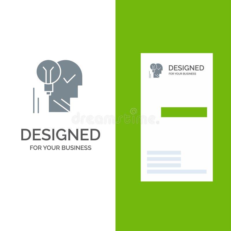 Idérikt, hjärna, idé, ljus kula, mening, personligt, makt, framgång Grey Logo Design och mall för affärskort royaltyfri illustrationer